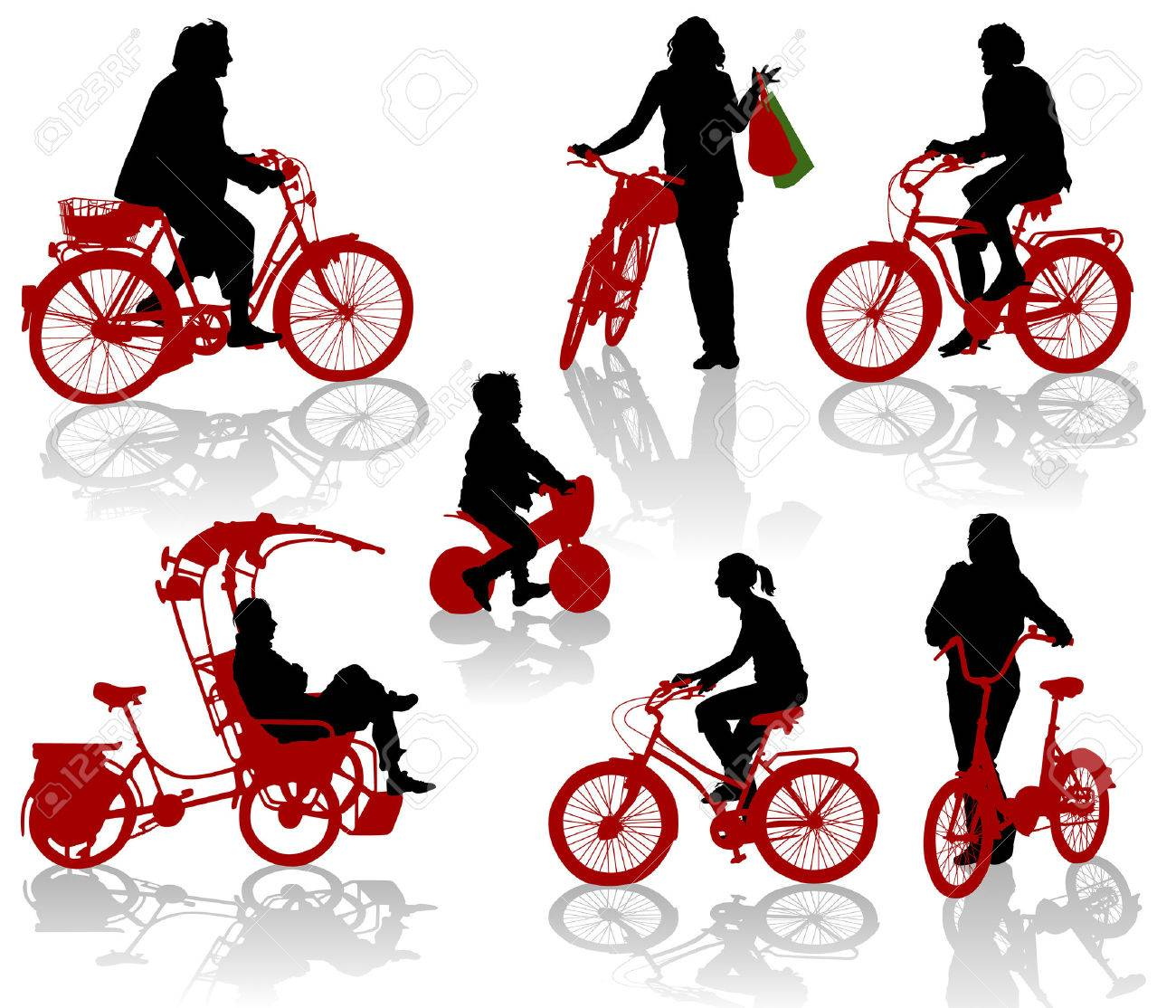 Silhouettes of people and children on bicycles Stock Vector - 9053849