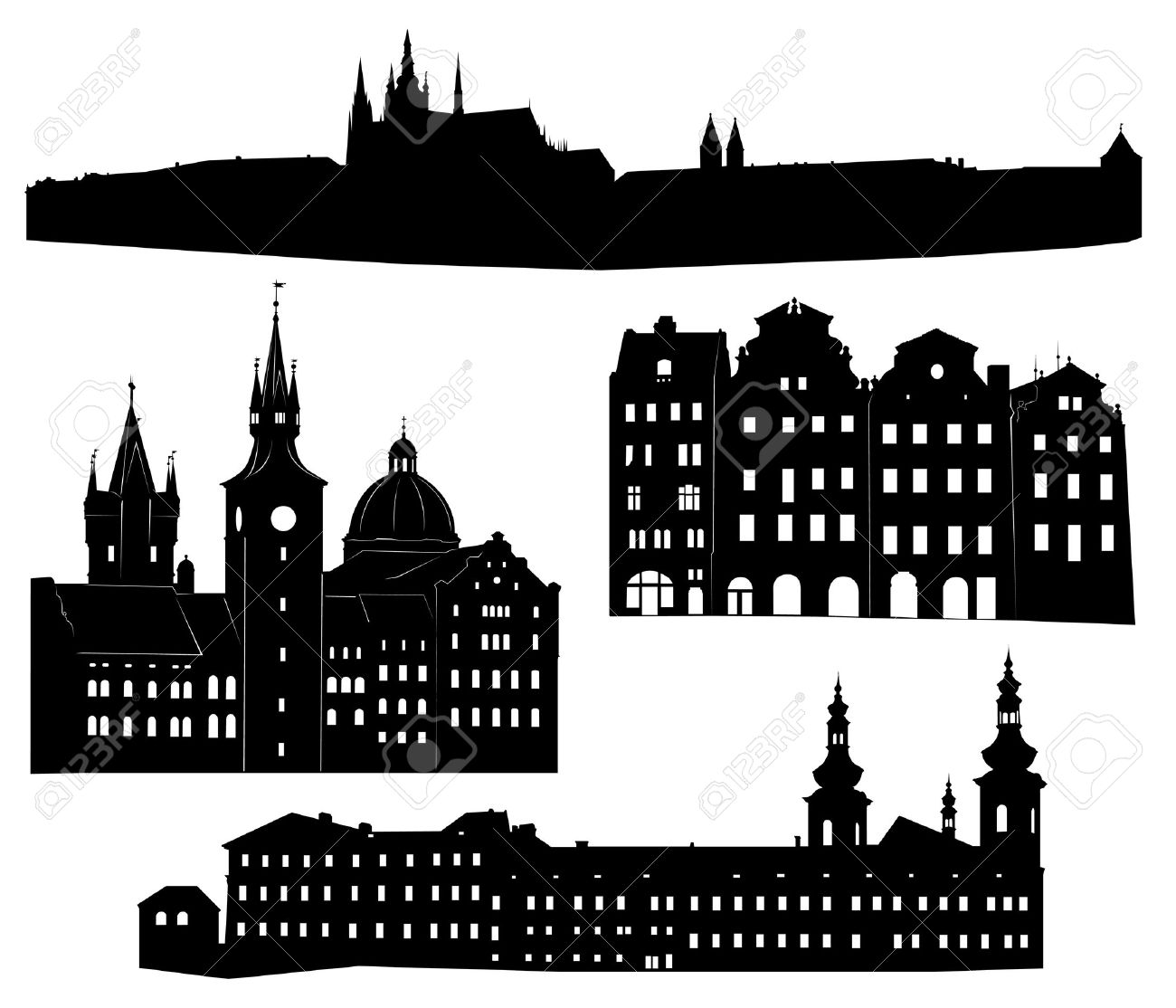 Silhouettes of famous buildings and landmarks of Prague. Stock Vector - 9648592