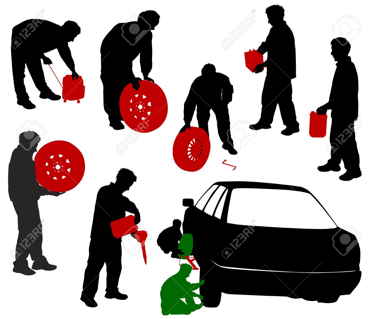 Silhouettes of car mechanics. Change the wheels, a mechanic with the battery canister, a wheel, a gasoline generator. Stock Vector - 14960947