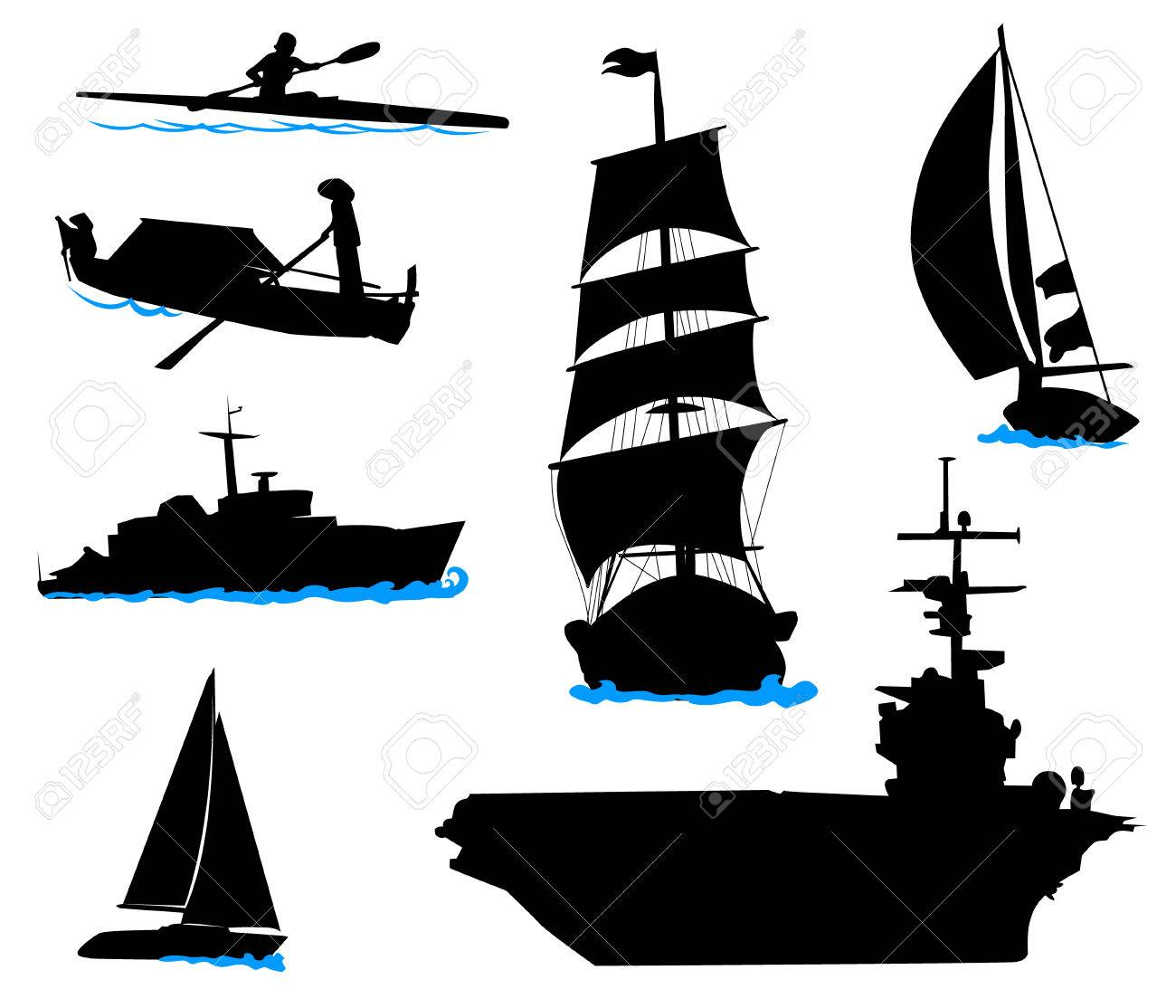 silhouettes of offshore ships yacht fishing boat the warship rh 123rf com cruise ship silhouette vector ship silhouette vector free download