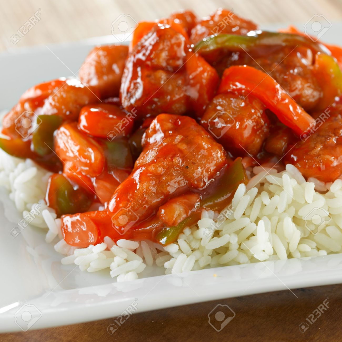Sweet And Sour Pork On Rice Stock Photo Picture And Royalty Free Image Image 12925179
