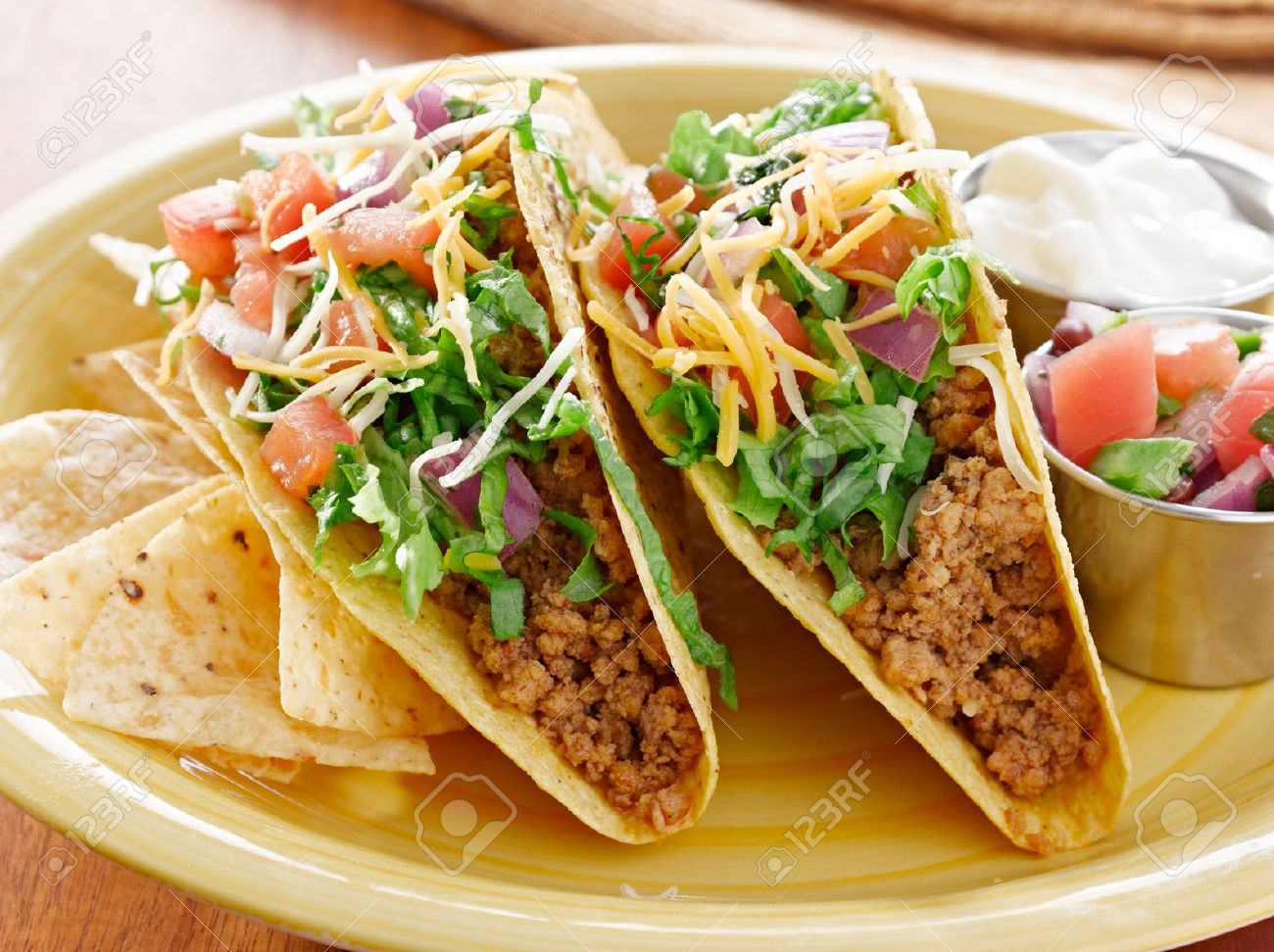 Tacos on a platter with tortillas - mexican food Stock Photo - 14941198