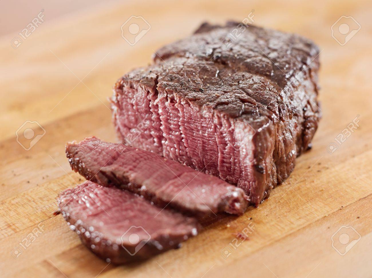Sliced roast beef package - Stock Photo Steak Cooked Fillet Of Beef Sliced Open
