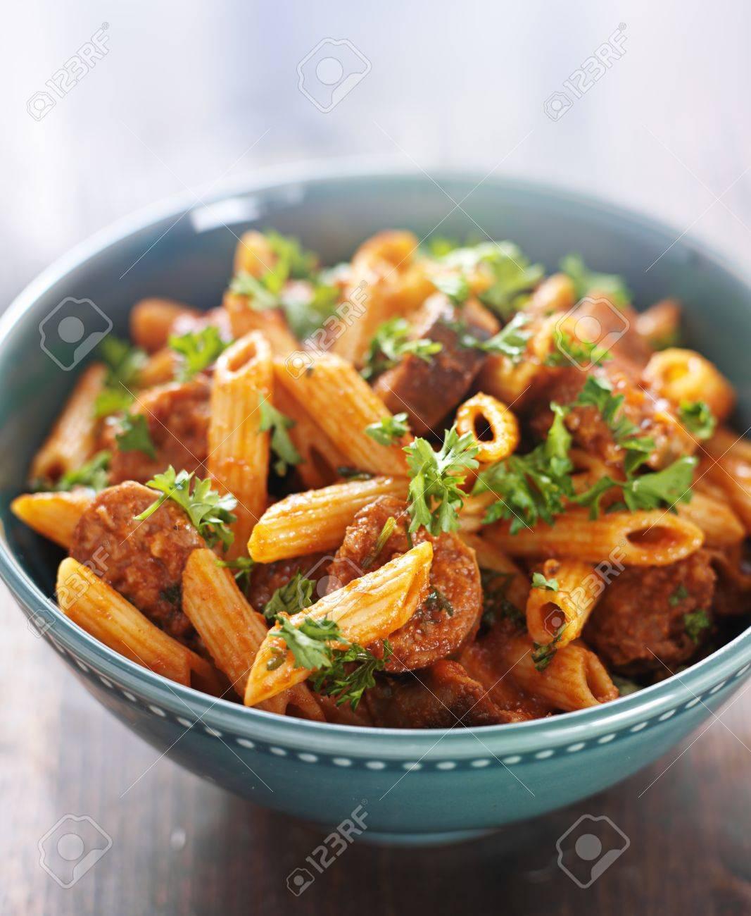 bowl of rigatoni pasta with sausage Stock Photo - 21585424