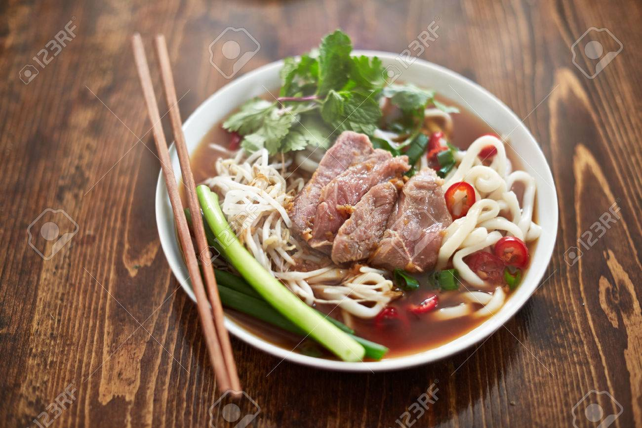 Bowl Of Vietnamese Pho In Natural Light Stock Photo, Picture And