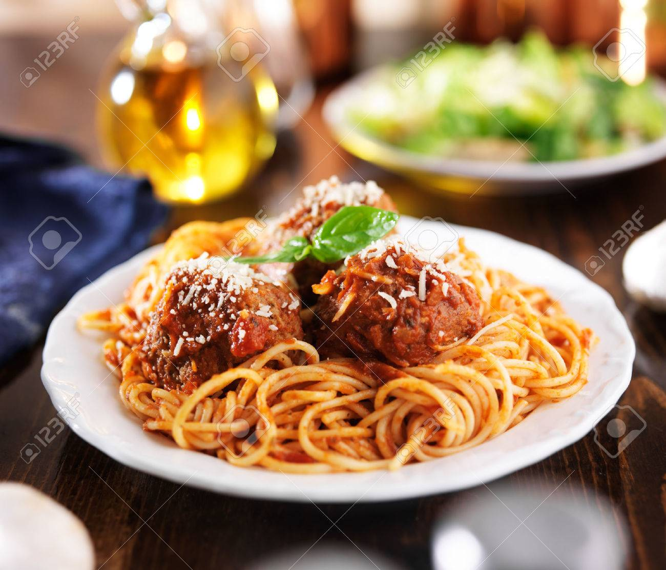 Italian Food   Spaghetti And Meatballs At Dinner Table Stock Photo    31616004