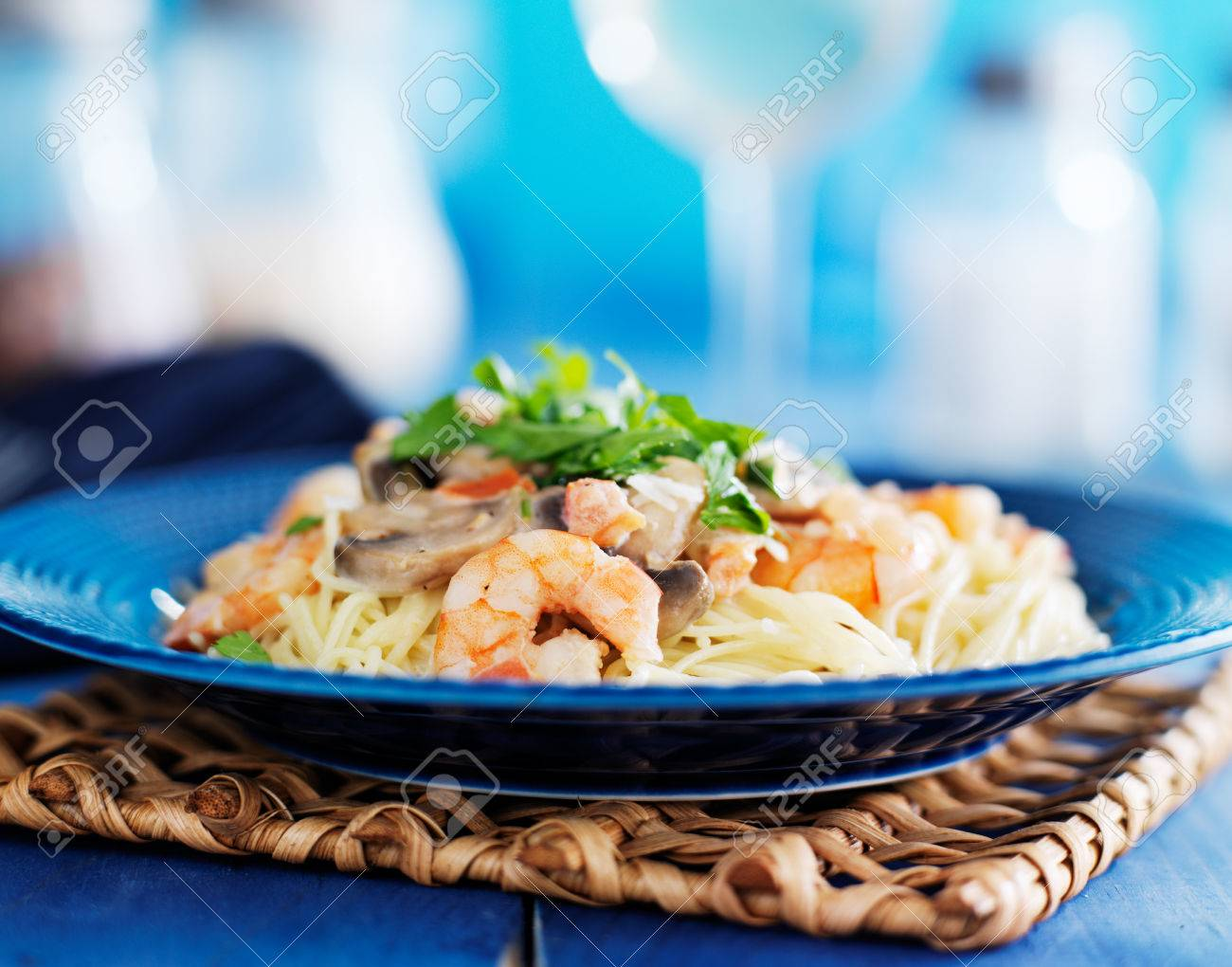 Shrimp Angel Hair Pasta With Mushrooms And Parsley In Champagne