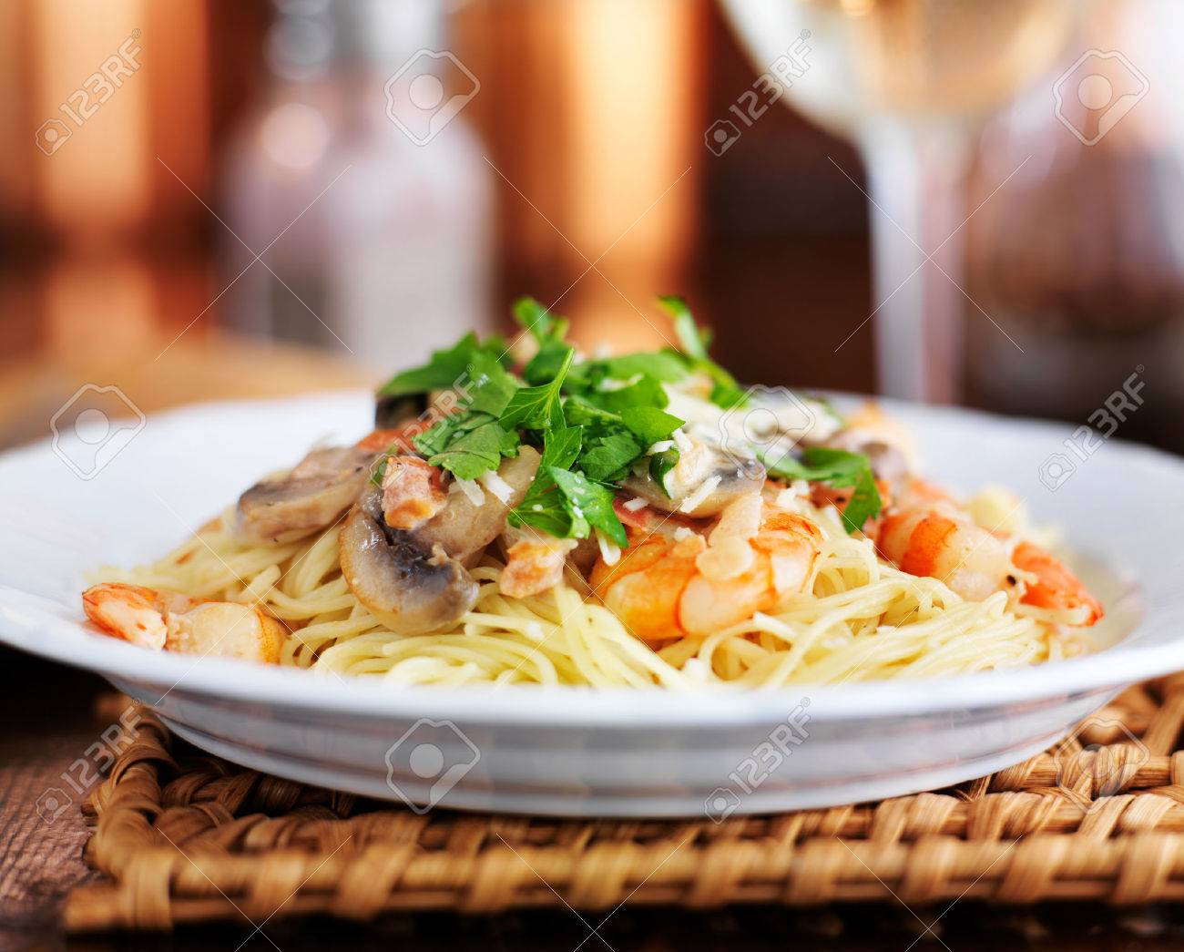 Angel Hair Italian Shrimp Pasta In Champagne Sauce With Parsley