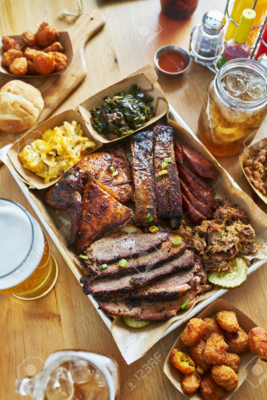 Texas Style Bbq Tray With Smoked Brisket St Louis Ribs Pulled Stock Photo Picture And Royalty Free Image Image 118468778