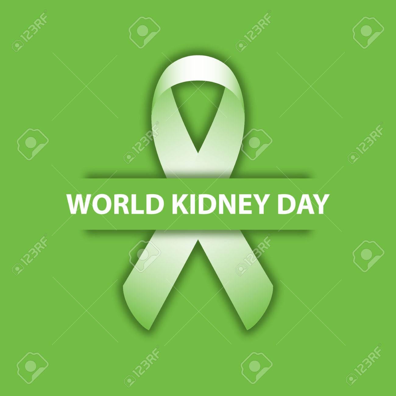 world kidney day green ribbon design illustration 05 royalty free