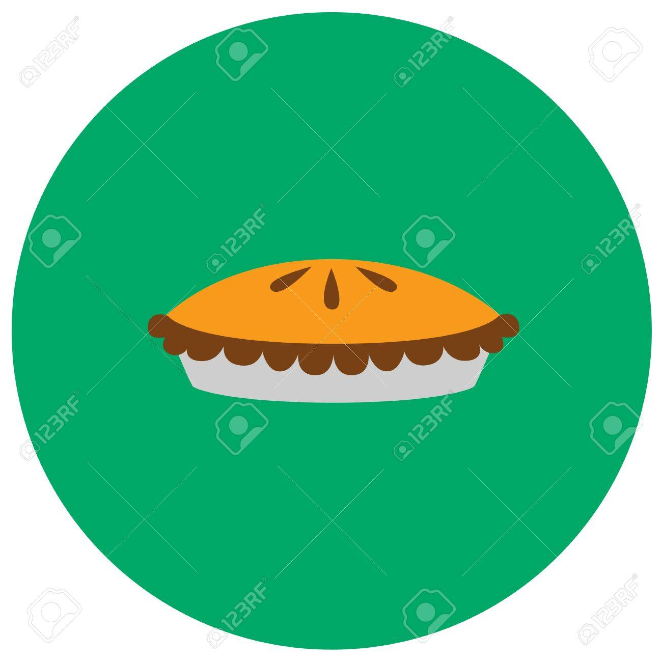 Pumpkin Pie Cute Icon In Trendy Flat Style Isolated On Color Background Thanksgiving Symbol For