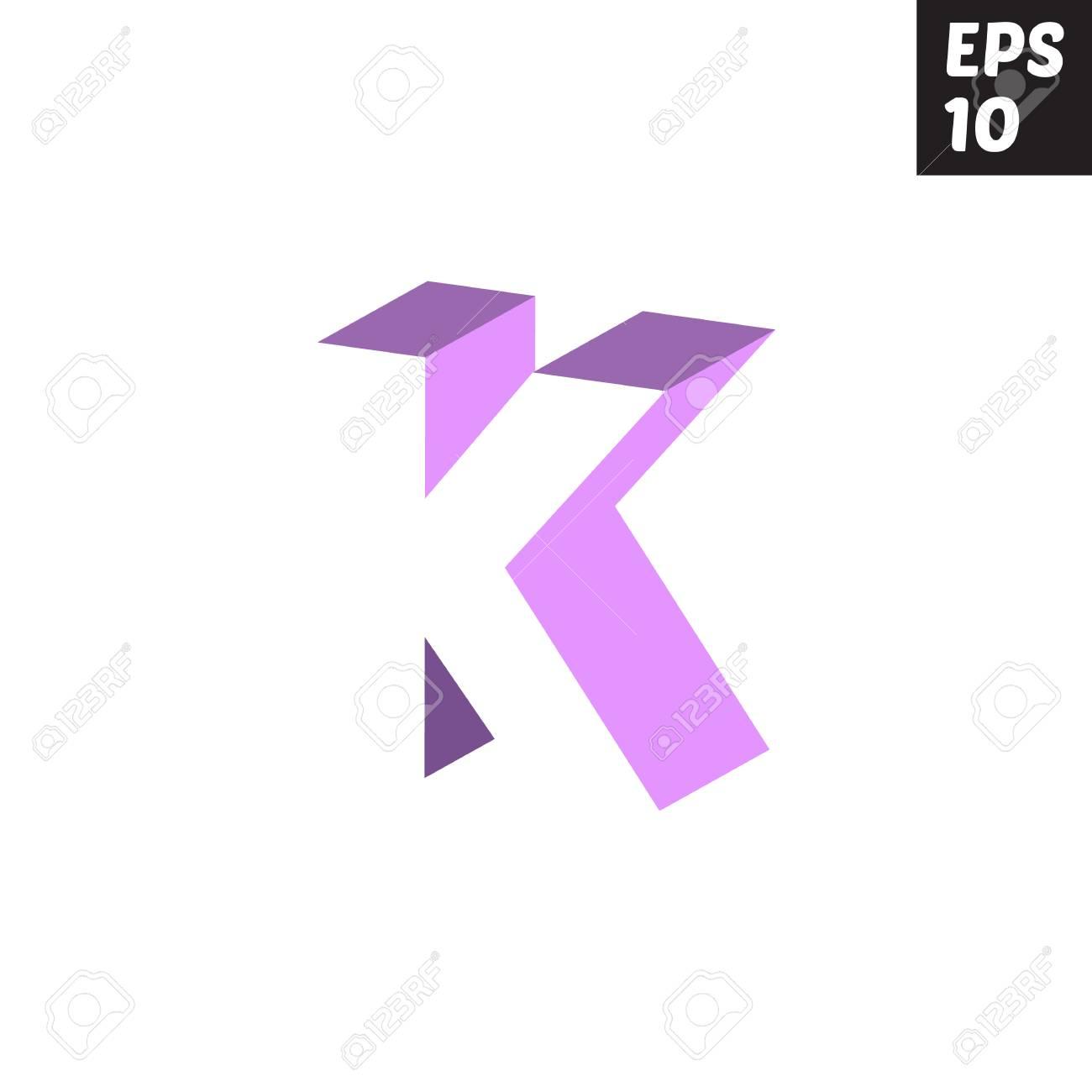 Initiale Lettre K Minuscule Logo Modèle De Conception Bloc Violet Violet