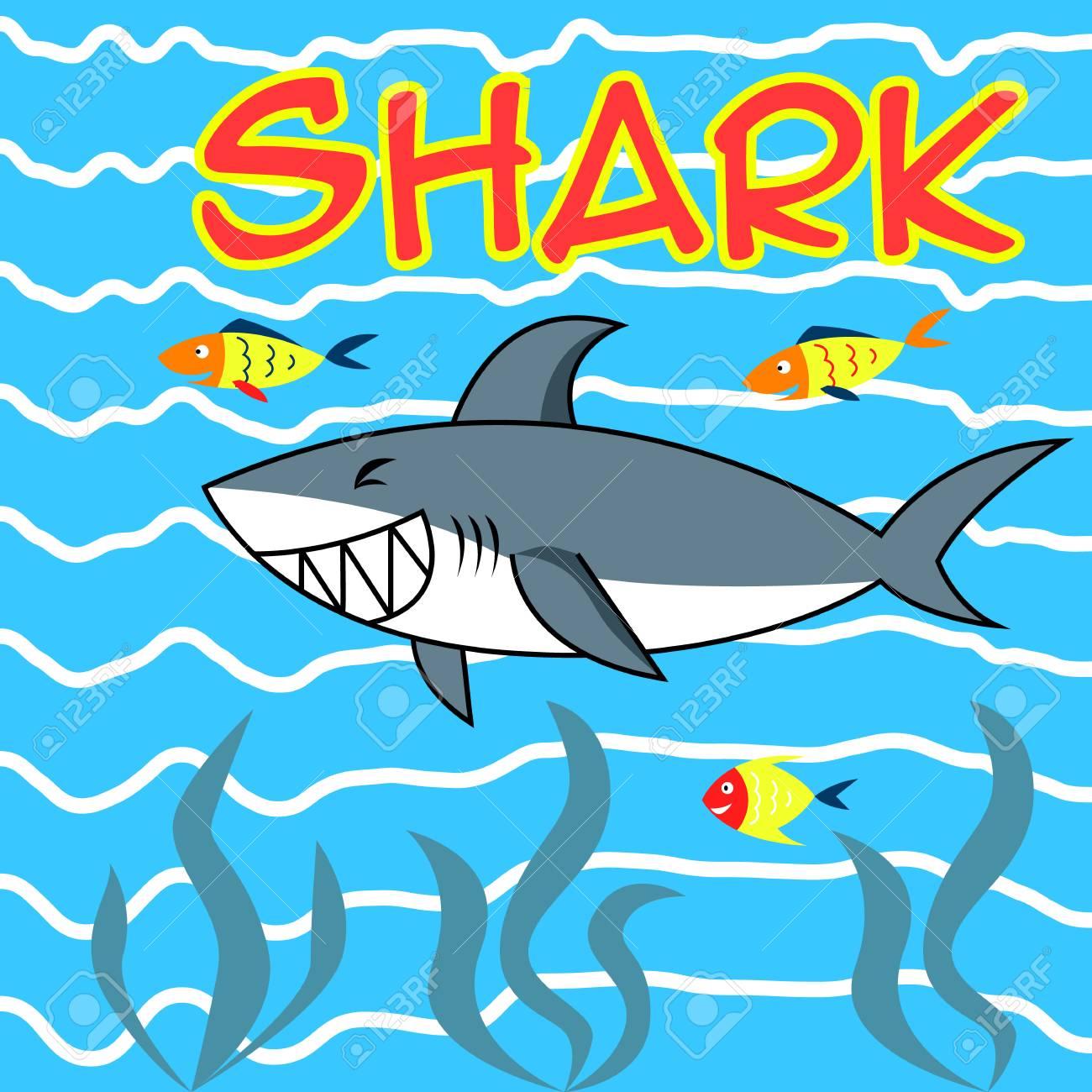 Tiburón Sonriente Feliz En El Mar Para Ilustración De Dibujos