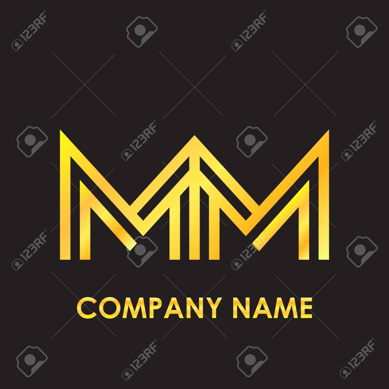 Lettre Initiale Lettre élégante Or Recroquevillé Logo De Modèle De Variation En Arrière Plan Noir