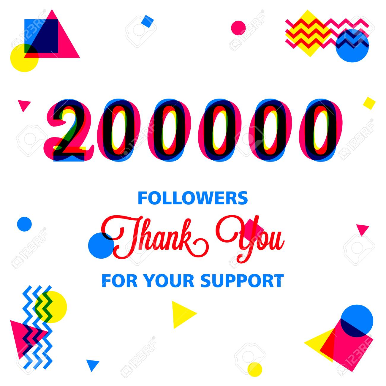 Thank You Greeting Card For Social Media Followers Vector