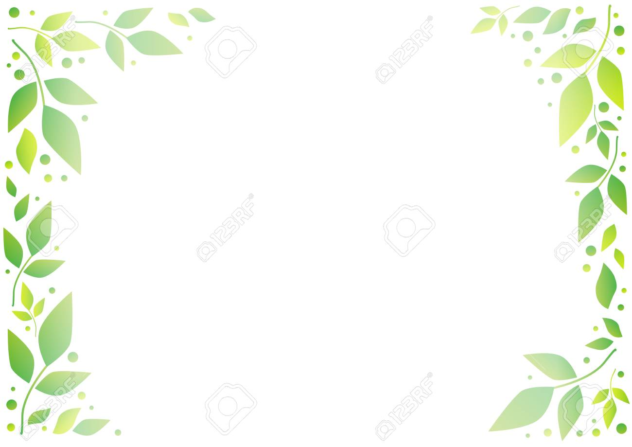 White Background With Decorative Frame Of Green Leaves And Dots