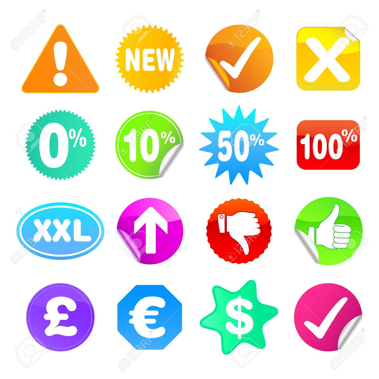 Bright stickers for web, presentations or computer applications.  Various shapes and common symbols included. Stock Vector - 6282335