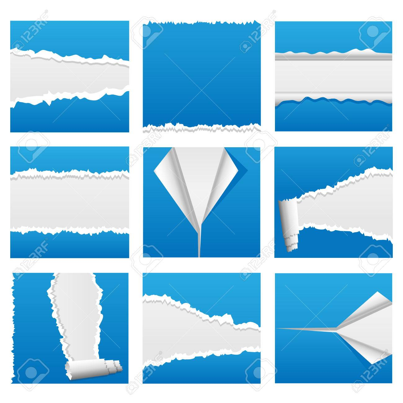 Torn paper design elements for web, presentations or computer applications. Rip, tear and peel variations included. Stock Vector - 6281730