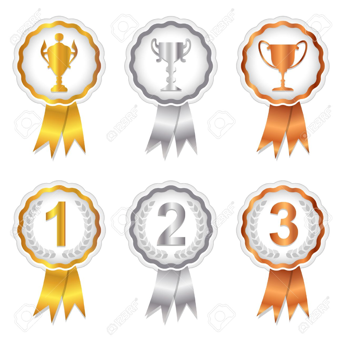 Gold, Silver and Bronze rosette badges with trophy and place numbers for 1st, 2nd and 3rd Stock Vector - 6488753