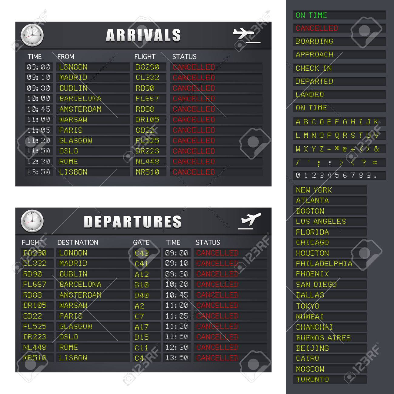 Airport flight information board showing cancelled flights. - 6801866