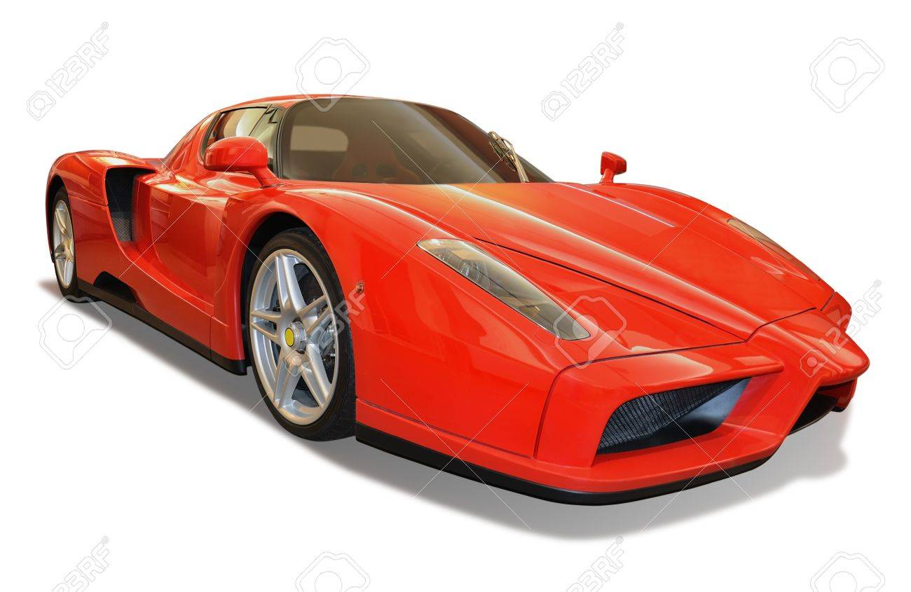 red sports car isolated on white background with included clipping path - 13444661