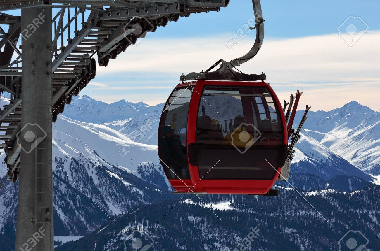 cable car in the skiing resort in Alps, Serfaus-Fiss-Ladis, Austria - 68181203