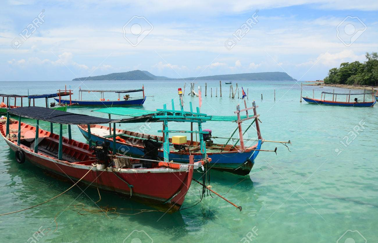 traditional khmer boats on the beach of Koh Rong Island near Sihanoukville, Gulf of Thailand, Cambodia - 74333149