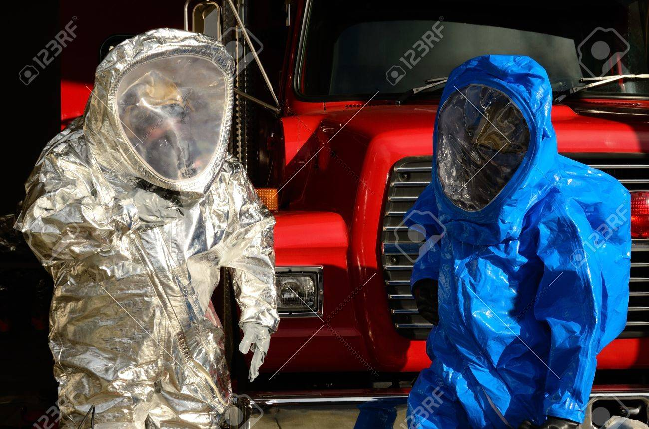 Hazardous Materials Team drill - Working in A level suits