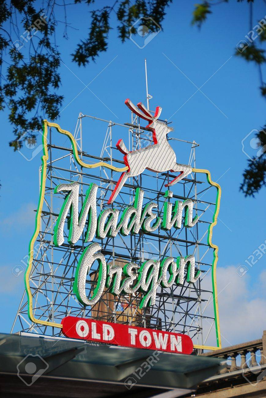 Made in Oregon  White Stag  sign in Old Town Portland Oregon near Burnside Street and the Saturday Market  Stock Photo - 14148615
