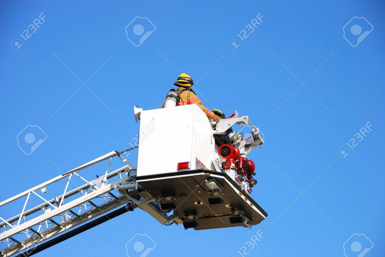 inservice training on a new 100 foot platform fire truck working