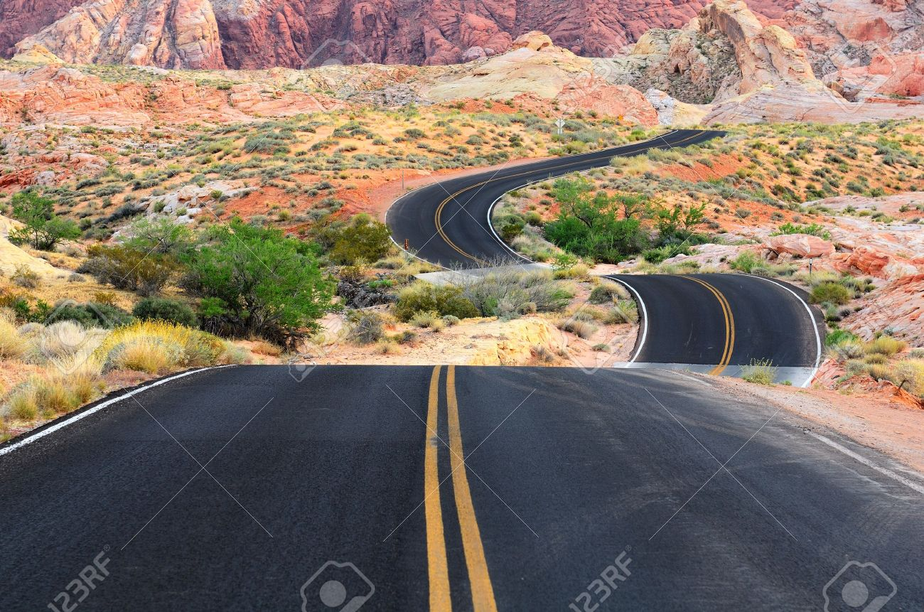 A road runs through it in the Valley of Fire State Park near Las Vegas Nevada Stock Photo - 20823733