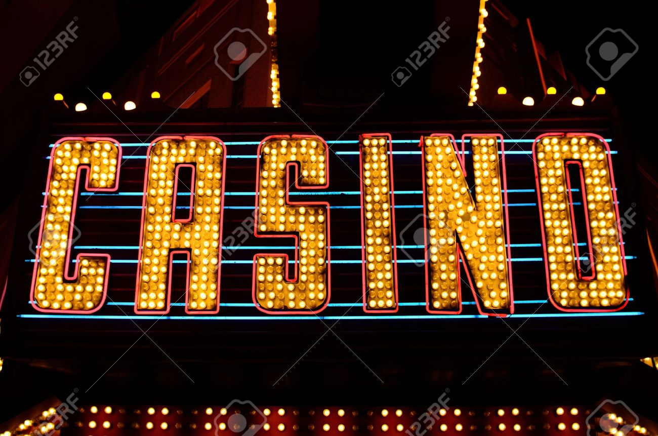 Stock footage welcome to fabulous las vegas sign with flashing lights - An Old Fashioned Casino Sign In The Downtown Area Of Las Vegas Nevada Stock Photo
