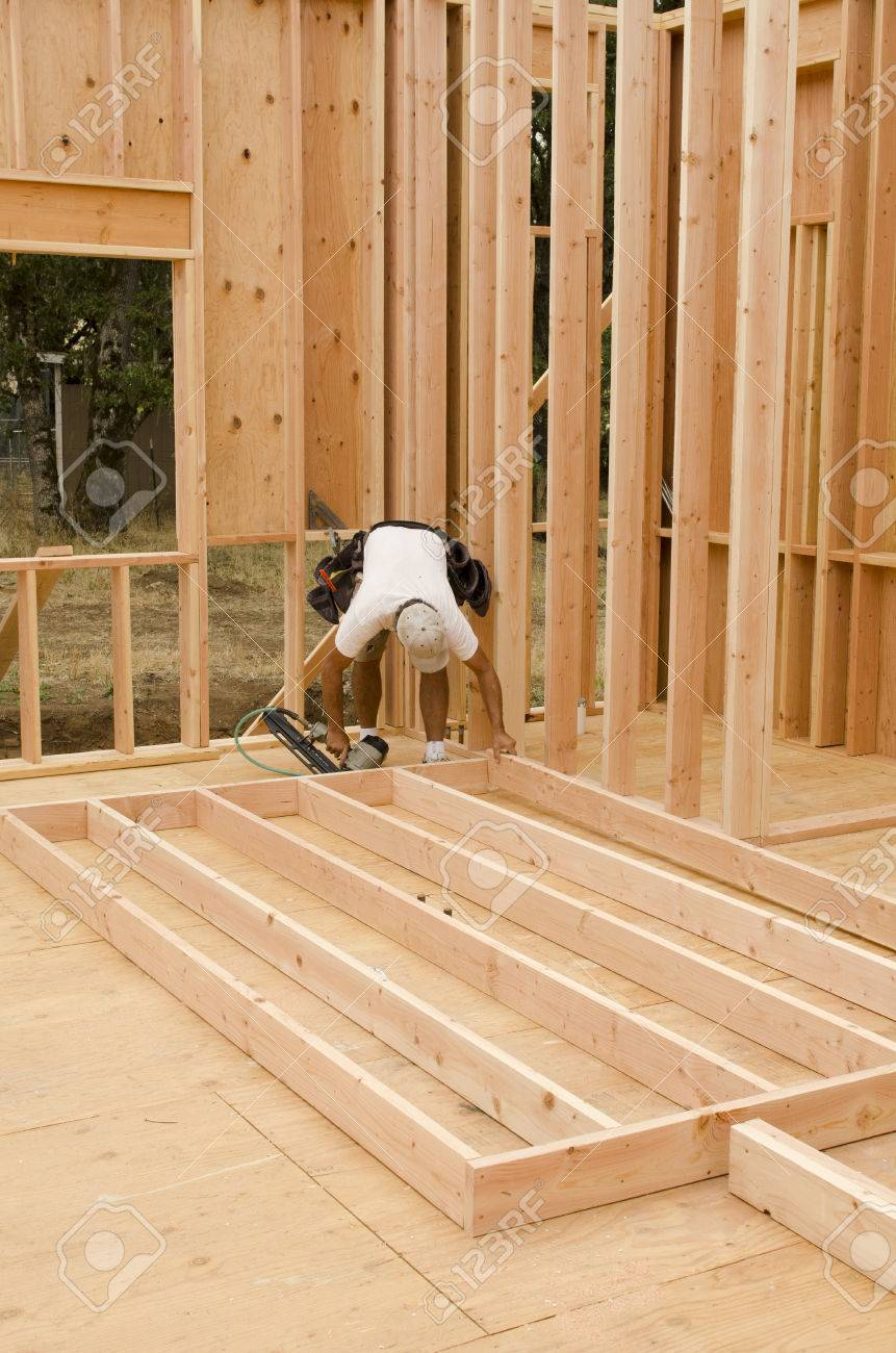 Framing Building Contractor Framing Up A Wall Section For A Luxury Stock Photo Picture And Royalty Free Image Image 36944716