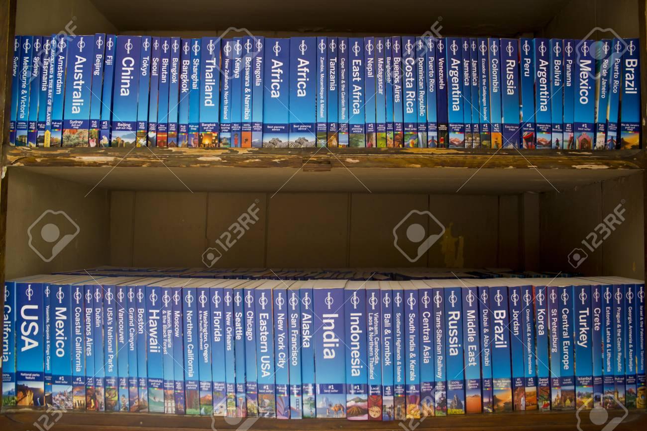 Travel Guides in a bookshelf