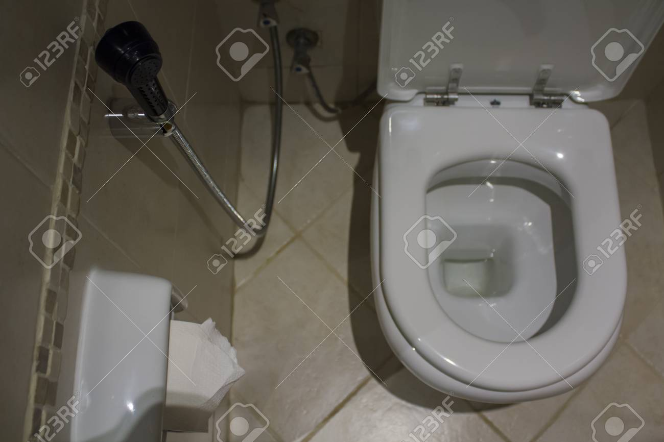 Above View Of Toilet And Bidet Toilet Water Spray Stock Photo Picture And Royalty Free Image Image 96772171