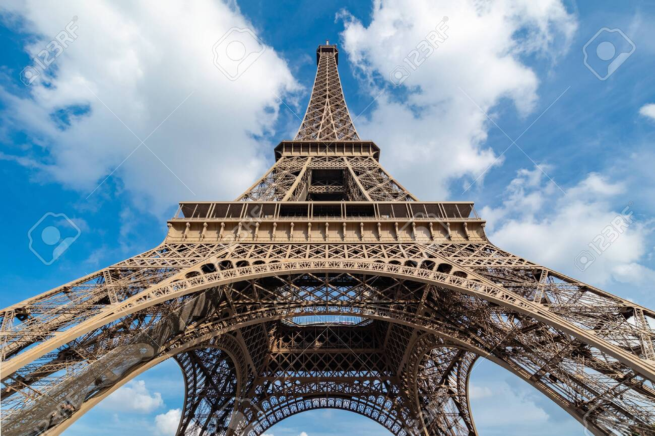 View up the Tour Eiffel from right in front of it. - 134164079