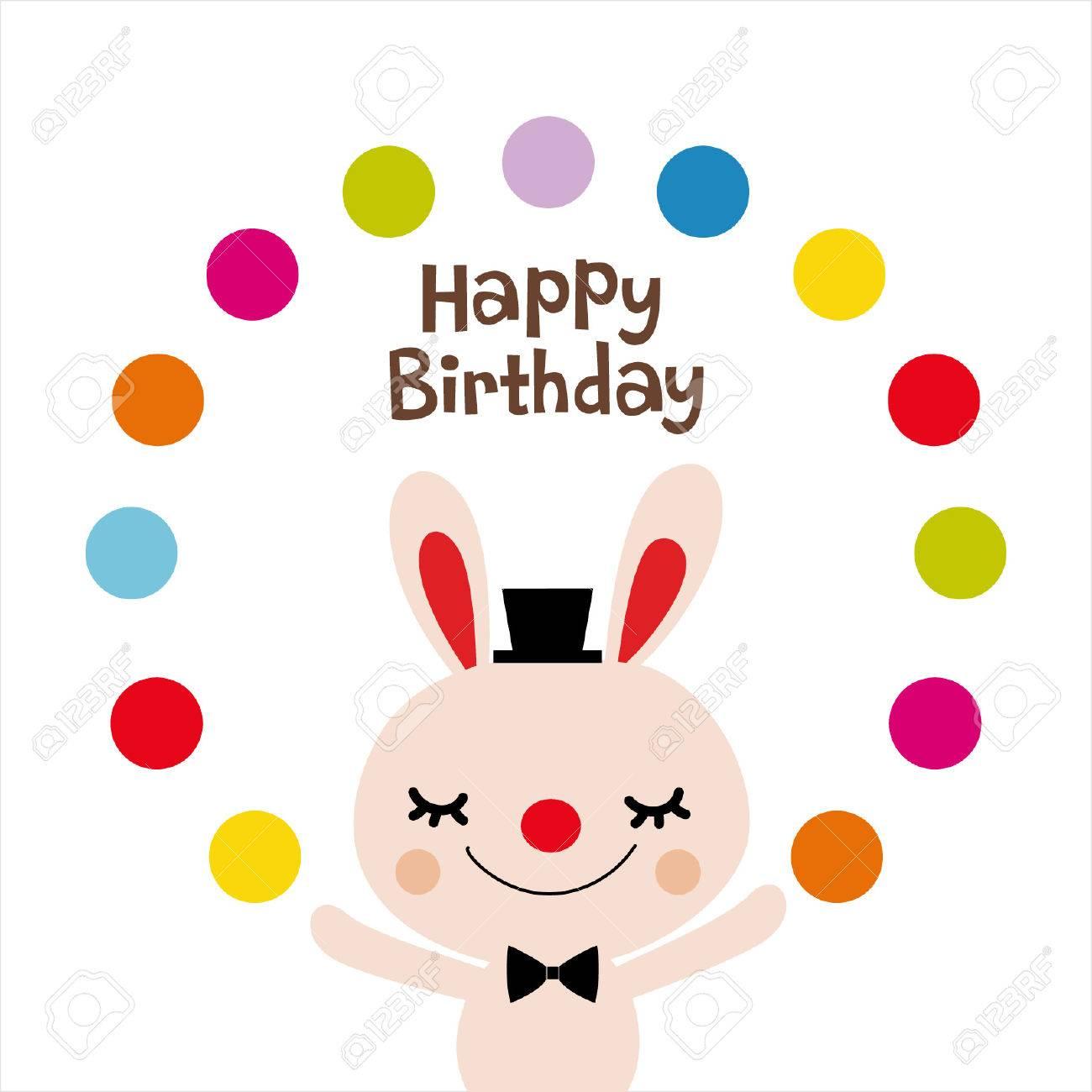 Rabbit Birthday Card Design Stock Vector