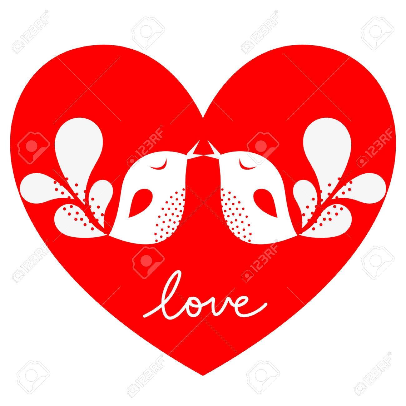 bird love card Stock Vector - 6170200