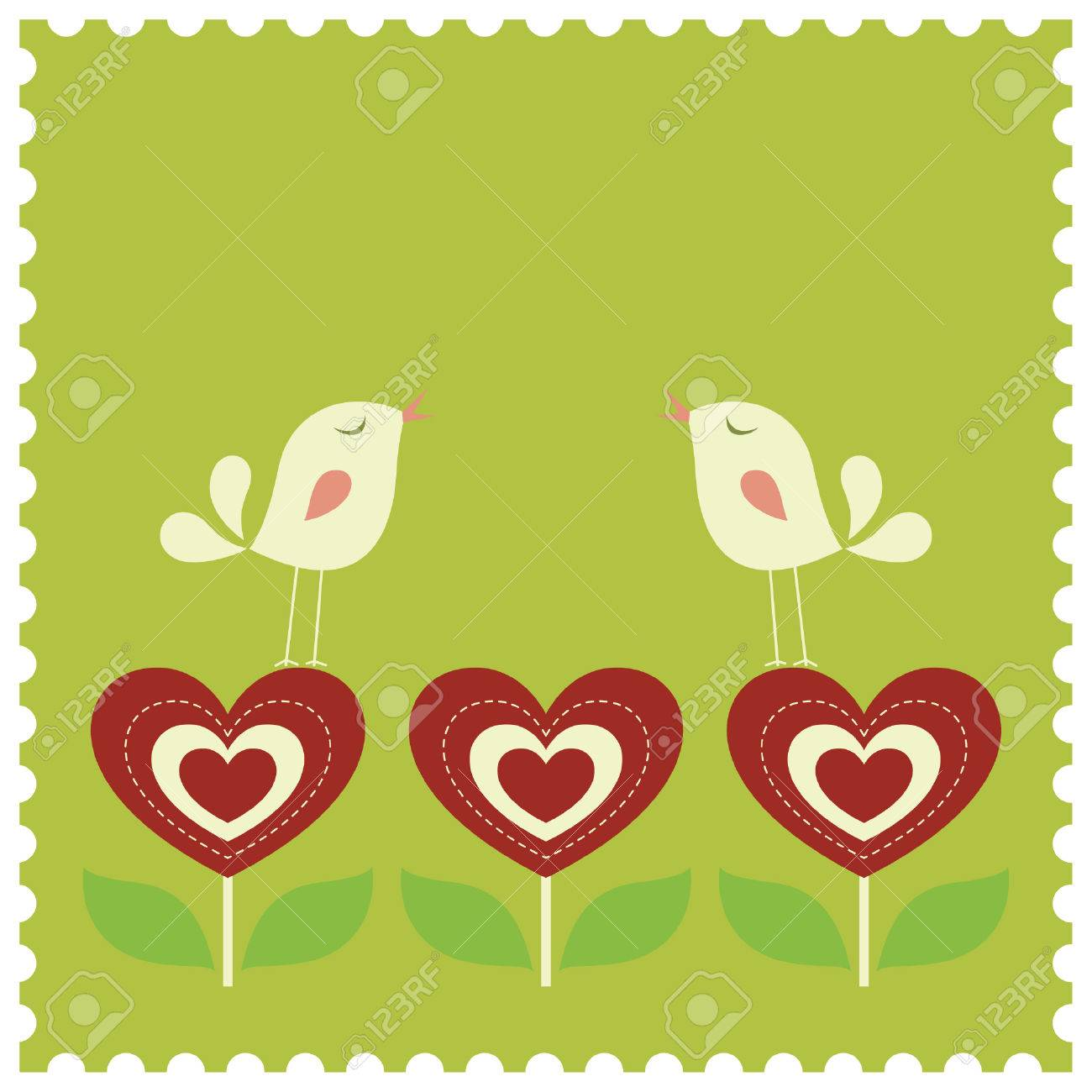 bird love card Stock Vector - 6864078