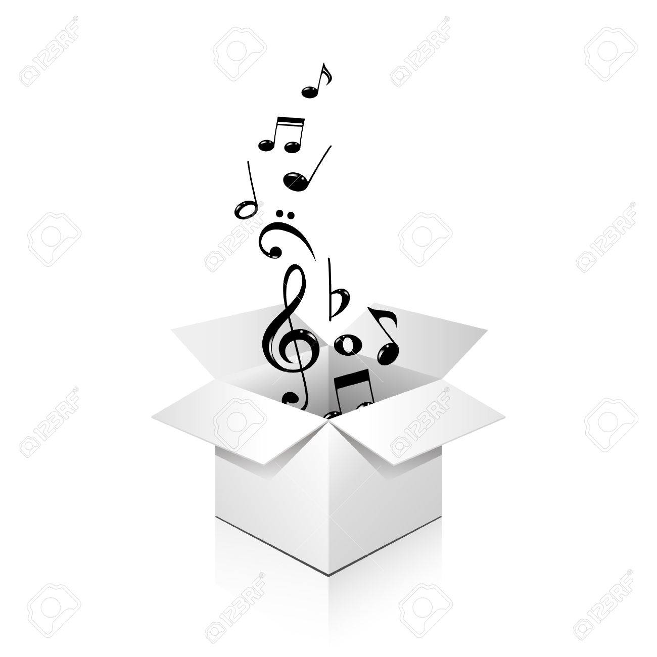 gift box full of notes, over white, isolated Stock Vector - 8225390