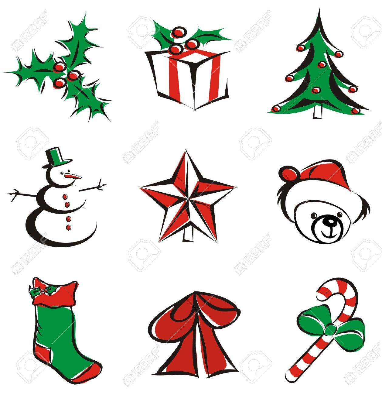 9 Christmas Decoration Items Isolated Vector Illustration Icons