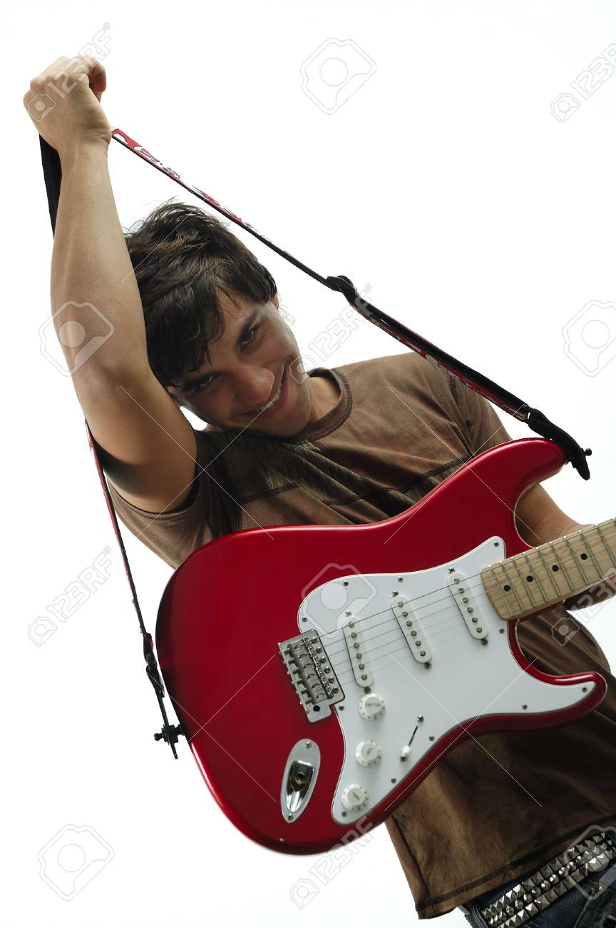 Portrait of trendy teen holding red and white electric guitar - isolated Stock Photo - 3177422