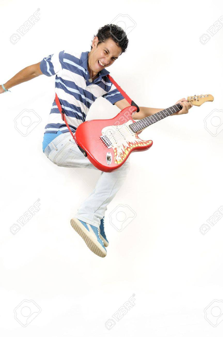 Portrait of trendy teen jumping with electric guitar - isolated Stock Photo - 3250376