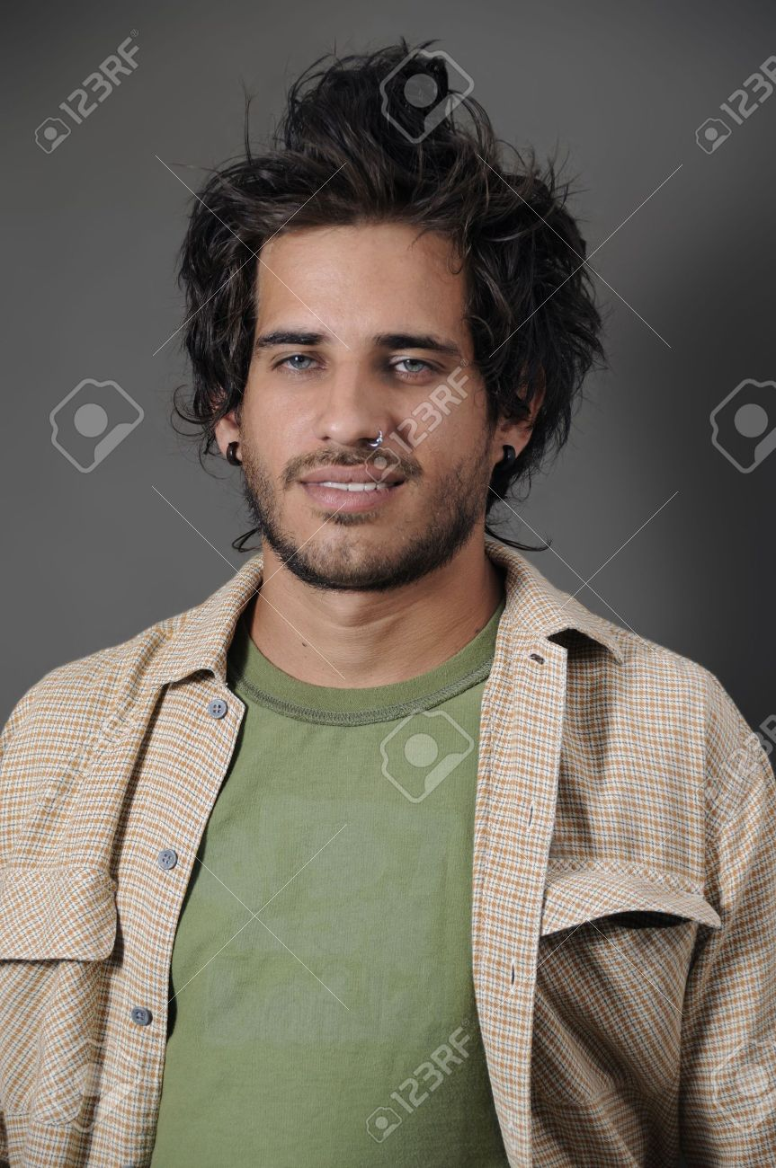 Portrait Of Young Handseme Male With Nose Piercing Stock Photo