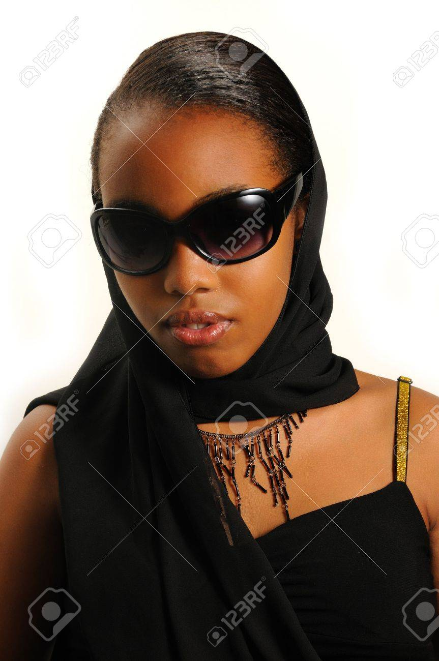 Portrait of young elegant african american girl with sunglasses isolated Stock Photo - 3683336