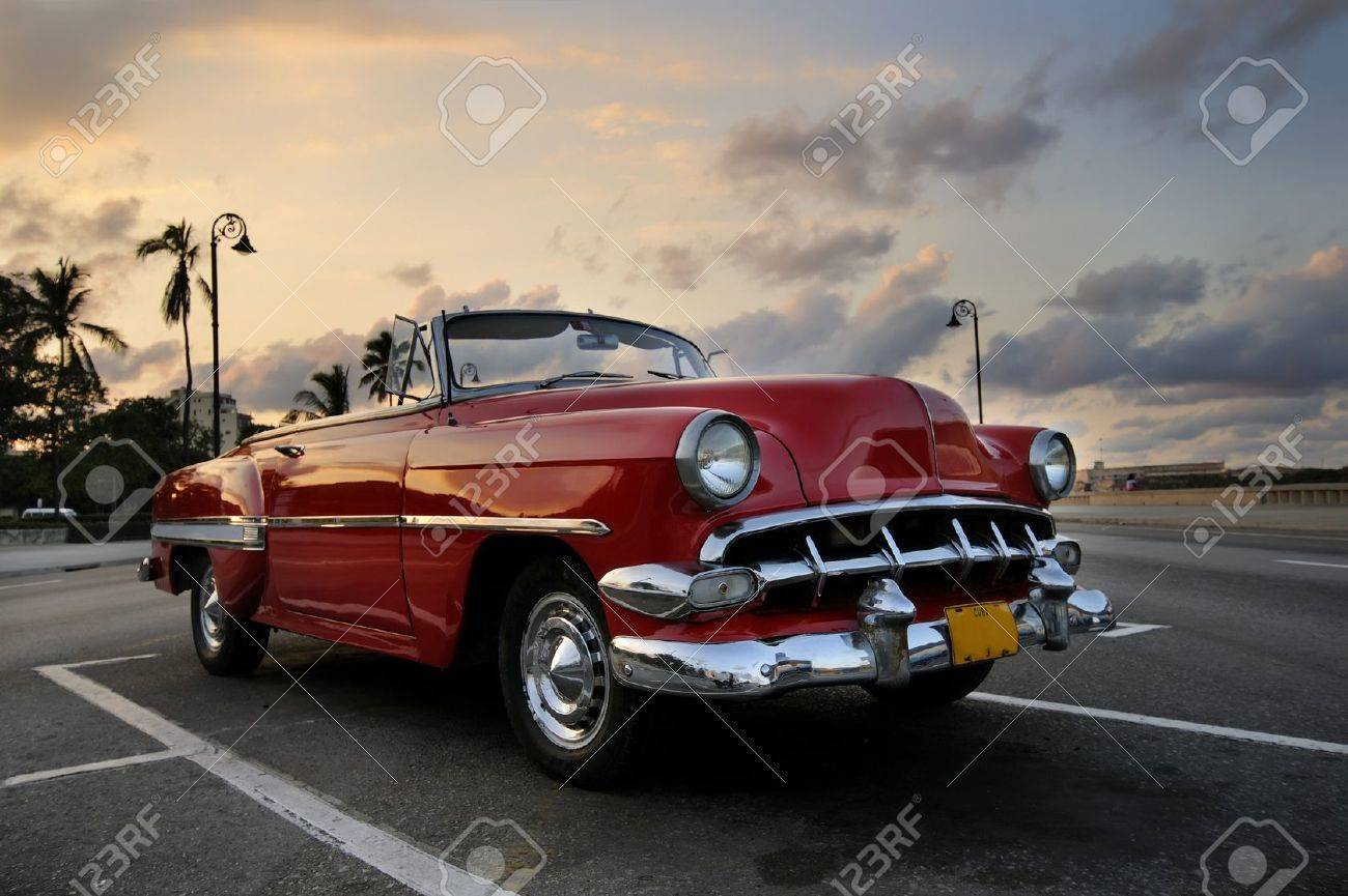 View Of Red Classic Vintage American Car Parked In Havana Street ...