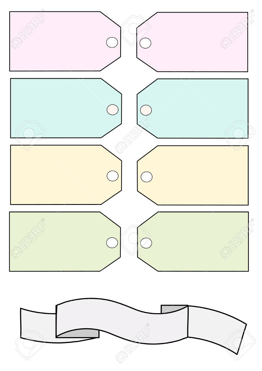 Price tag template free printable blank price tag template free - Vector Illustration Of Blank Pastel Colored Tags And A Blank White Banner Stock Vector