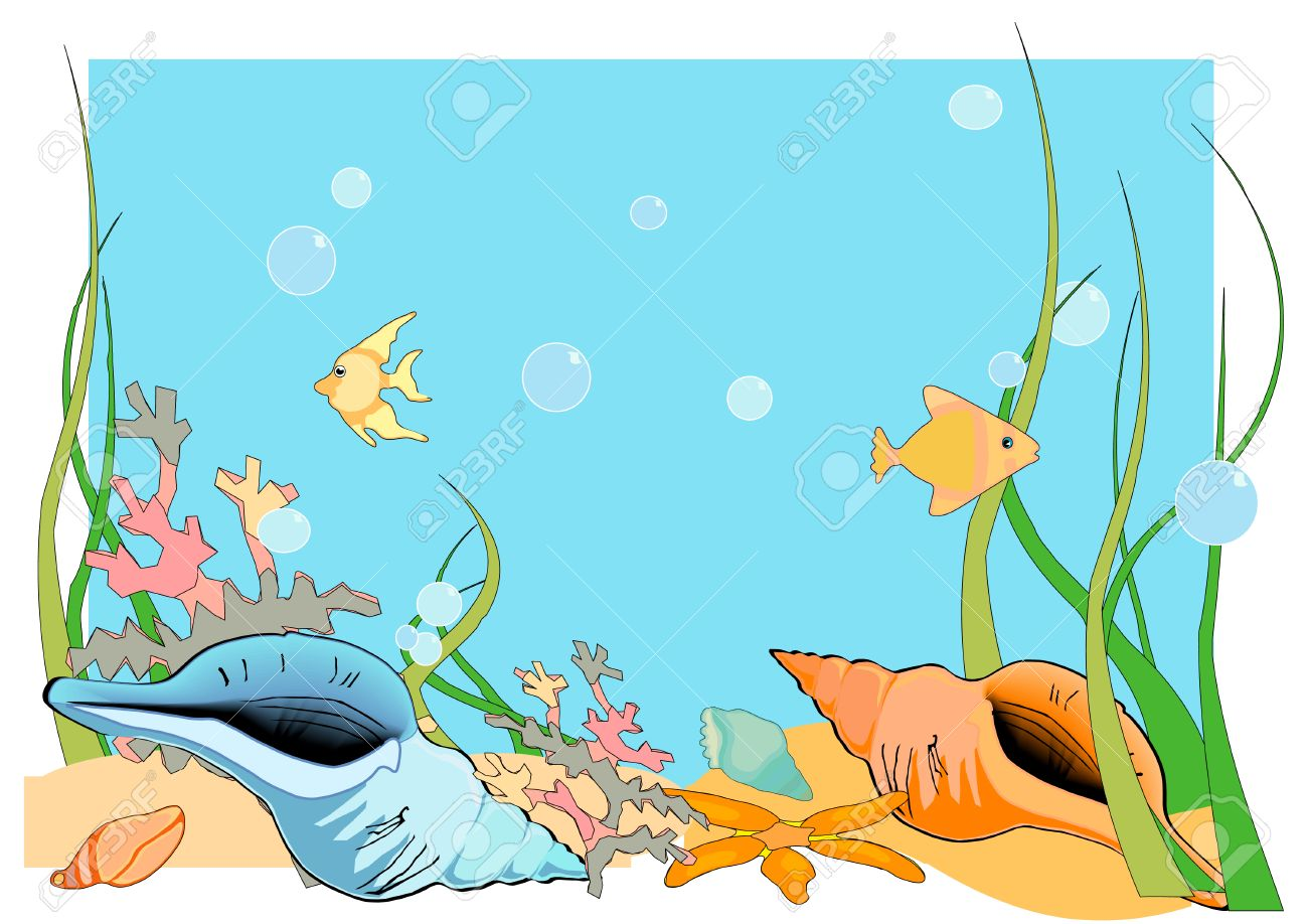 On The Ocean Floor: Vector Illustration Of An Ocean Floor, With Shells And  Fish