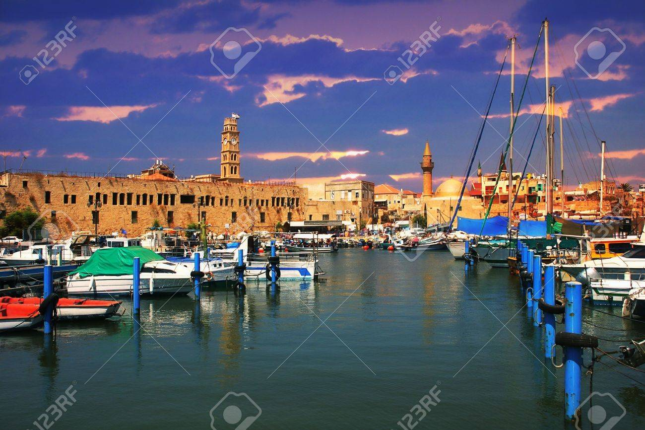 View on marina with yachts and ancient walls of harbor in Acre, Israel. Stock Photo - 11860921