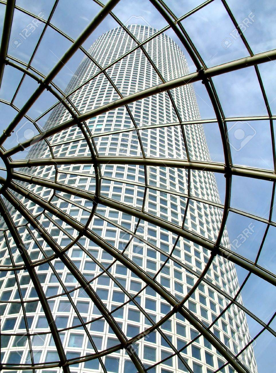 Modern glass roof in Azrieli shopping center with view on skyscraper in Tel Aviv, Israel. Stock Photo - 11906061